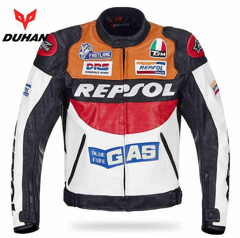 DUHAN Moto GP motorcycle REPSOL Racing Leather Jacket VS02 orange blue M L XL XXL 3XL good pu leahter made high quality fast