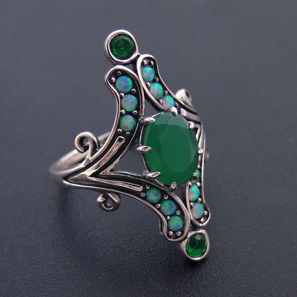 Fine 100% 925 Sterling Silver Jewelry Women Rings For Women Jewelry <font><b>Green</b></font> Stone Bands Wedding Ring Party Jewelry Size 6/7/8/9/10