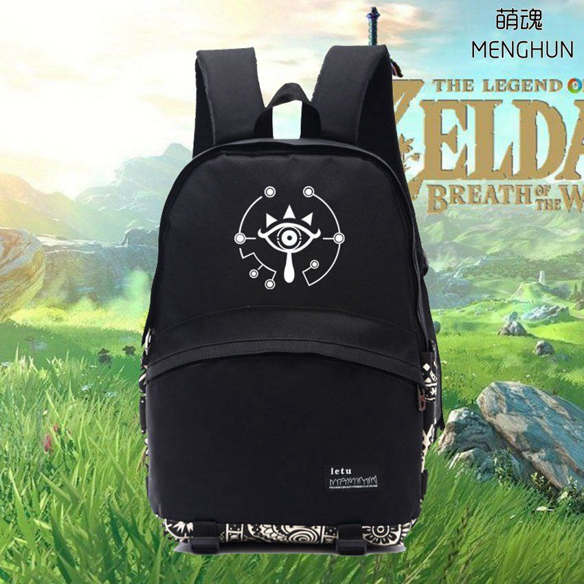 New NS game Legend of Zelda Wild of breath concept Link truth eye printing backpack Legend of Zelda backpacks black nylon NB163