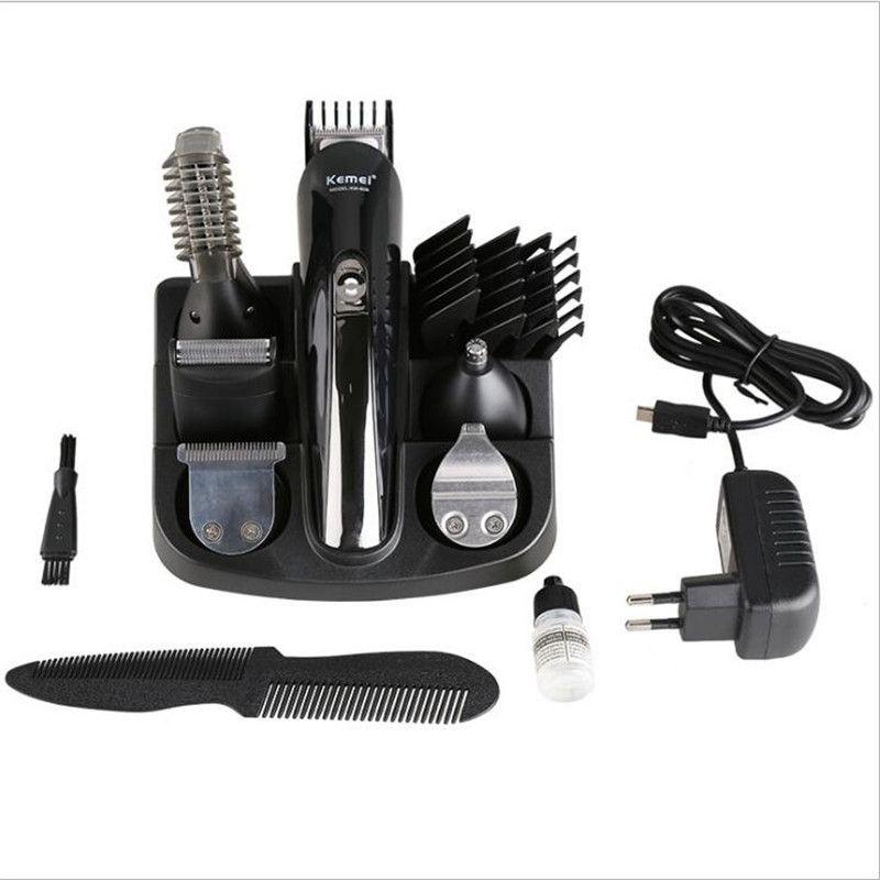 KM-600 Kemei Professional Hair Trimmer 6 In 1 Hair Clipper Shaver Full Set Electric Shaver Beard Trimmer Hair Cutting Machine