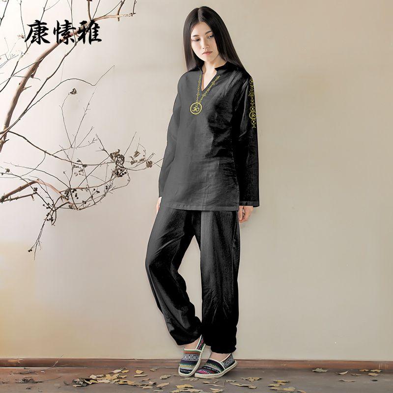 Black Women Gym Sport Suits Tracksuits Kong Fu Yoga Shirt Pants Loose Yoga Sportswear Set Zen Meditation Clothing Large Size