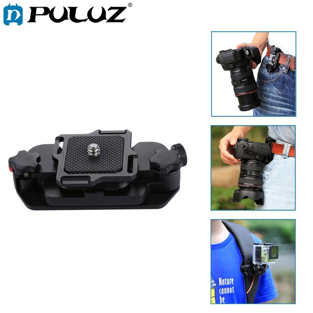PULUZ Capture Camera <font><b>Clip</b></font> Holster Aluminum Alloy Quick Strap Buckle Quick Release <font><b>Clip</b></font> Plate w/h 1/4 tripod Screw for GoproDSLR