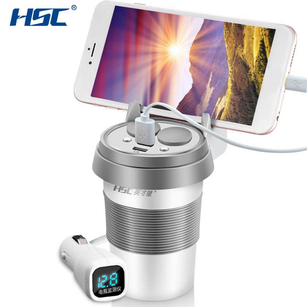 HSC HSC-500D 12-24V Dual USB Car Charger Cup With Phone Holder Voltage Breaker Car Cigarette Lighter Socket Adapter Hot Selling