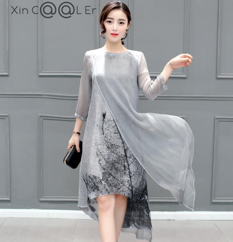 Mode 2019 livraison gratuite nouveau printemps été femmes travail porter coton linge robes Folk Art encre imprimer décontracté Slim robe rétro