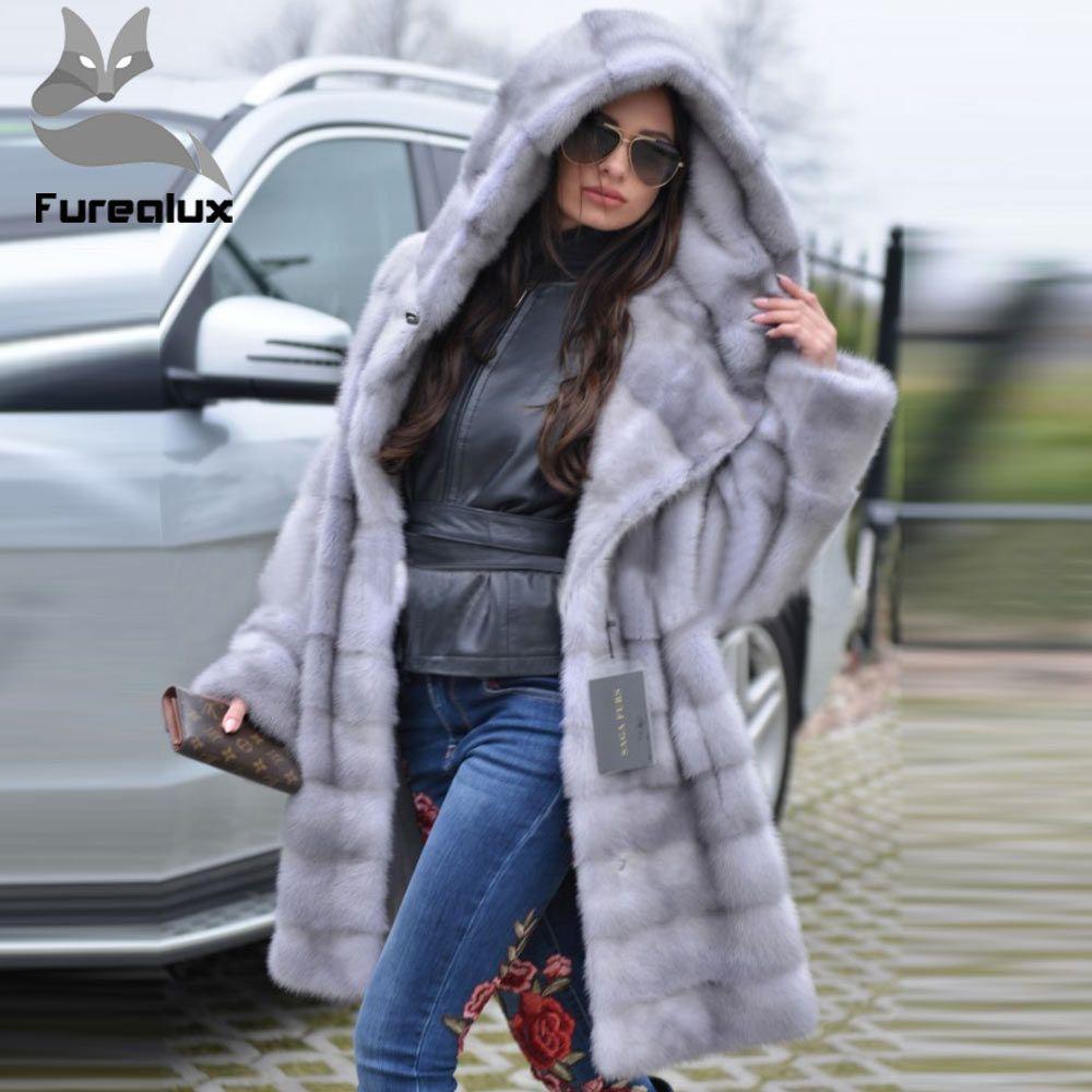 Furealux 2019 Neue Kommen Grau Luxus Nerz Pelz Mantel Mit Kapuze Für Frauen Warm Lose Mit Gürtel Natürliche Nerz Pelz Jacken