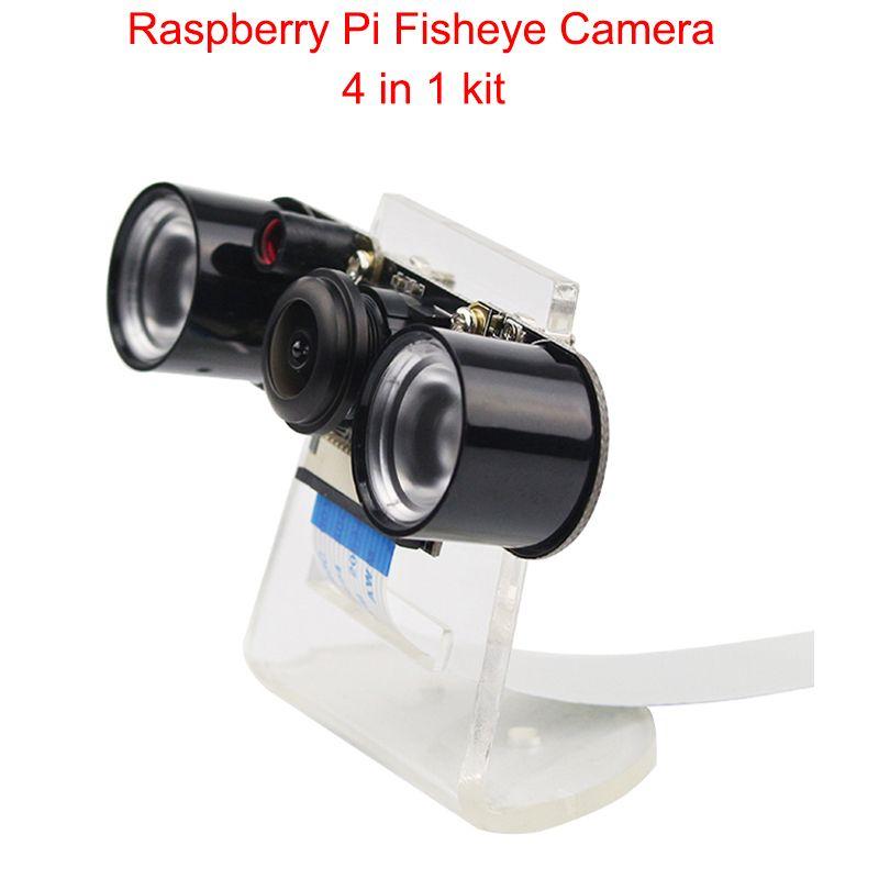 Caméra Raspberry Pi RPI Fisheye Version nocturne grand Angle caméra + support acrylique + lumière IR + câble FFC pour Raspberry Pi 4B/3B +