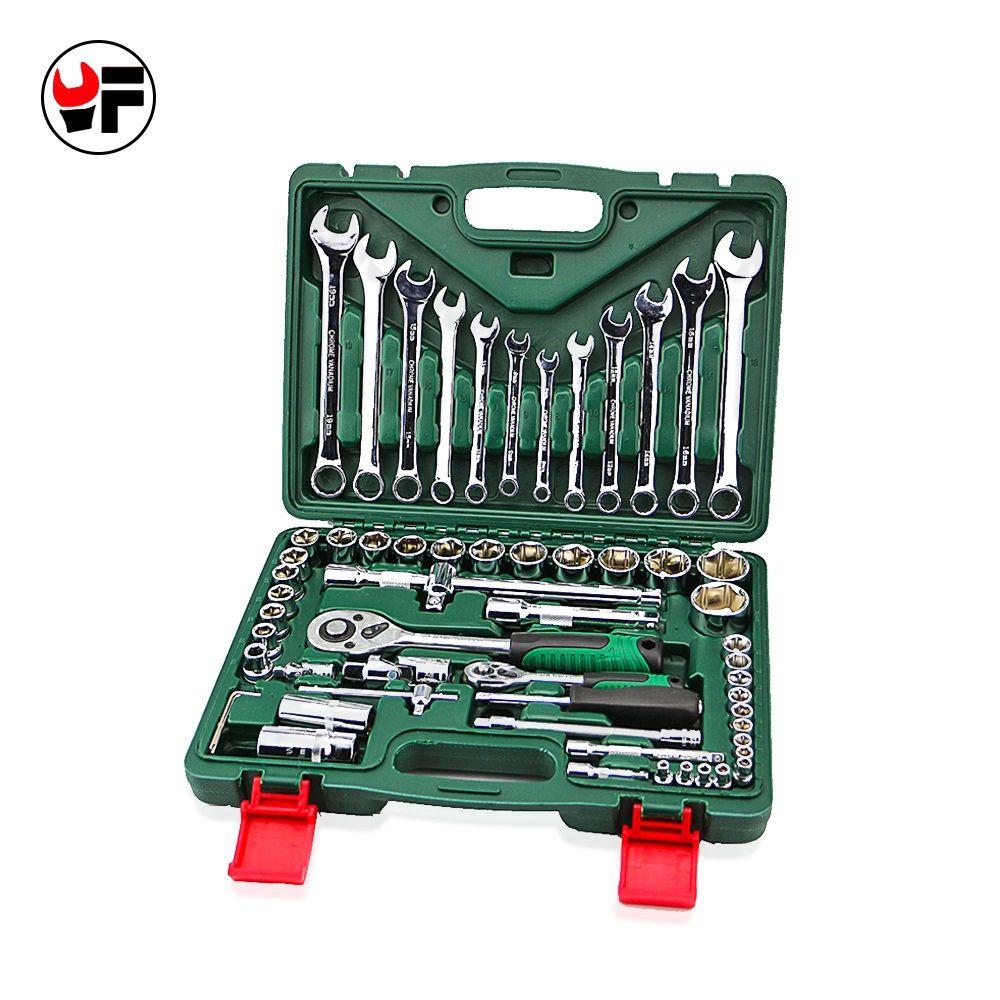 Бесплатная доставка 61 шт. крутящий момент набор торцевых ключей с ratchet гаечные ключи оставлять carraca 1/4 ручной инструмент для car kit repair tool набор...