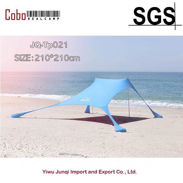 Portable Stakeless Windproof Beach Sunshade and Gazebo Tent - 210 X 210 - with Sand Anchors. Perfect Canopy Sun Shade Shelter Ta