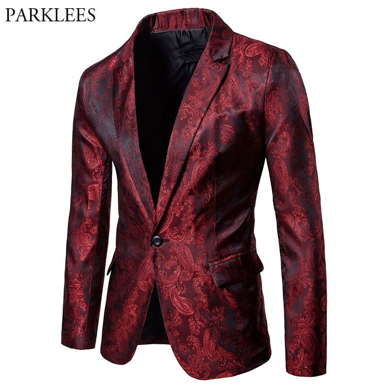 Men's Luxury Paisley Floral Blazer 2018 Spring New Casual Slim Fit Single Button Mens Silk Suit Blazers Jackets Stage Costumes
