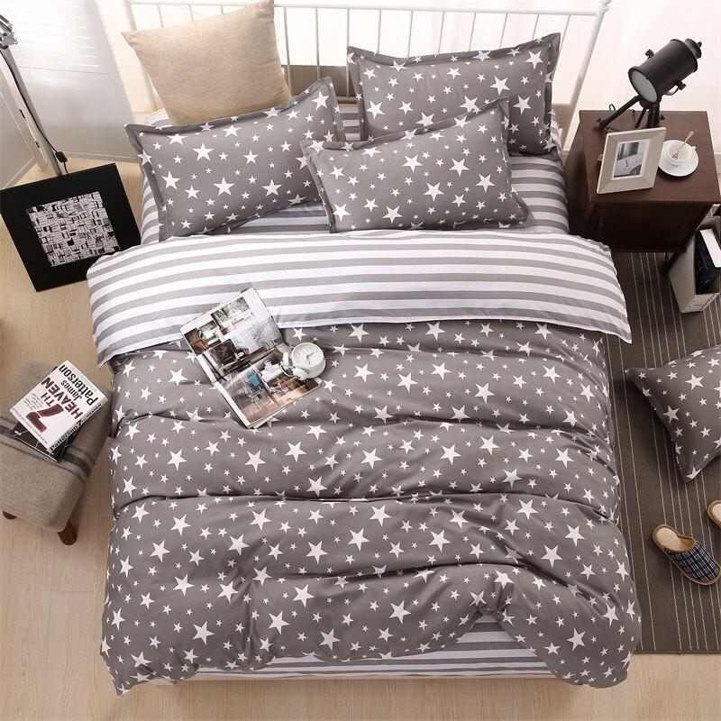 Classic bedding set 5 size grey blue flower bed linens 4pcs/set duvet cover set Pastoral bed sheet AB side duvet cover 2018 bed