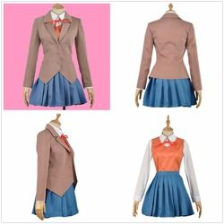 HOT Sayori Yuri Natsuki Monika Adult Cosplay Costume with Vest Shoes (with Yuri Wig/ Monika/Natsuki Wig)