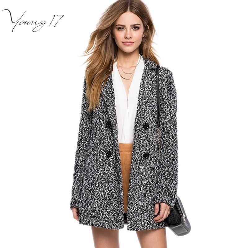 Young17 2016 Elegant Women Winter Wool Coats Plus Size Grey Turn Down Collar XXXL Long Woolen Coat Female Jacket Long Outwear