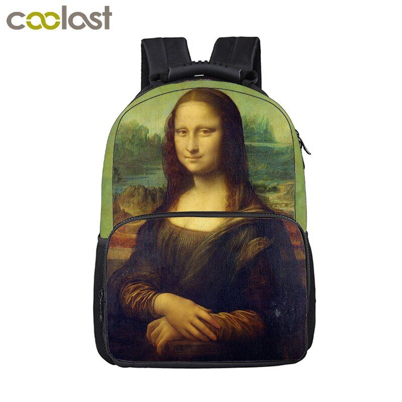 Famous Oil Painting Mona Lisa / Starry Night Backpack Women Men Shoulder Travel Bags For Teenager School Backpack Book Bag
