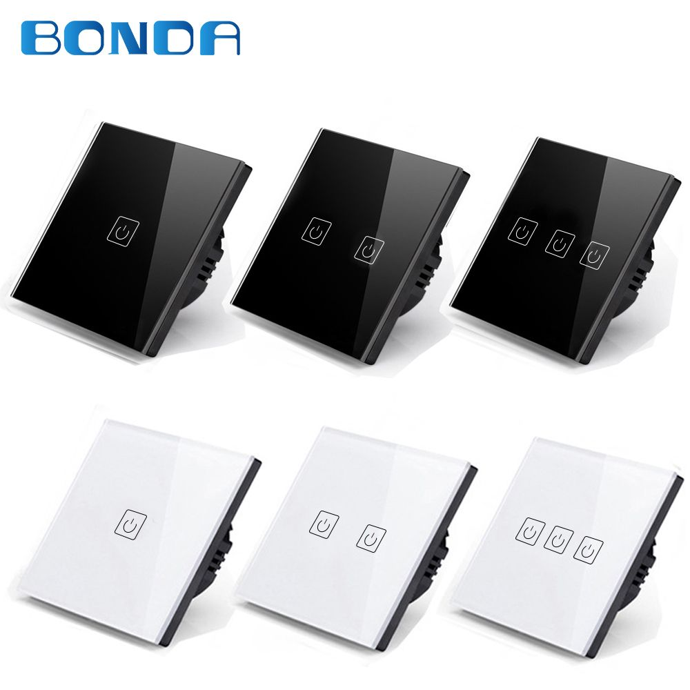 BONDA genuine EU/UK standard 1/2/3 open black, white, two-color touch screen wall light switch luxury crystal glass panel
