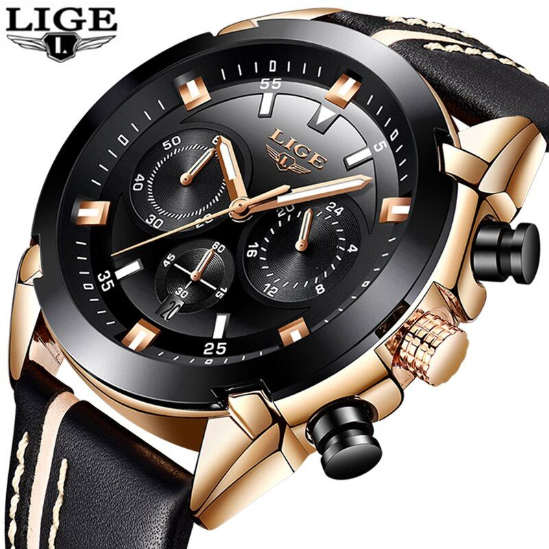 2018 New LIGE Mens Watches Top Brand Luxury Men's Military Sports Watch Men's Waterproof Leather Quartz Watch Relogio Masculino