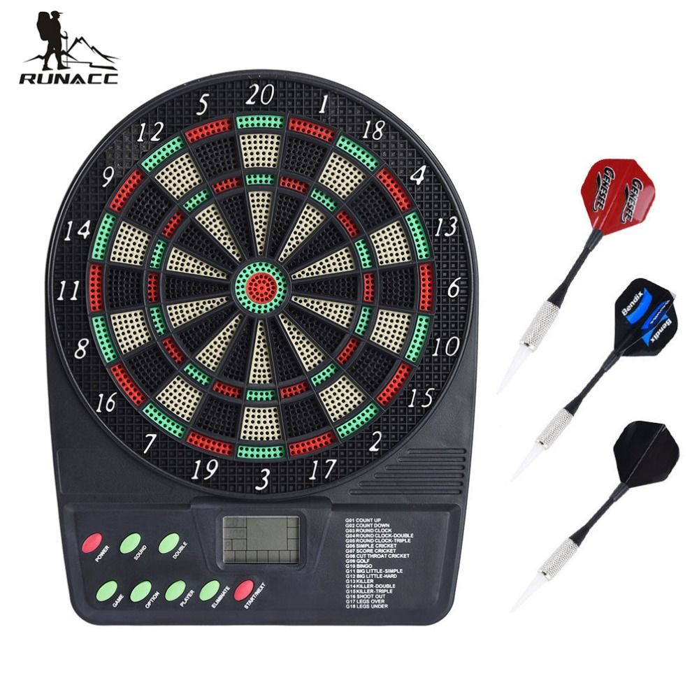 RUNACC Electronic Dartboard Battery Powered Dartboards Soft Tip Dart Board with HD LCD Display and 3 Plastic Tip Darts