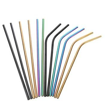 Reusable Straw Stainless Steel Straws with Cleaner Brush Colorful Drinking Metal Straw for Mug Bar Accessories Dropshipping