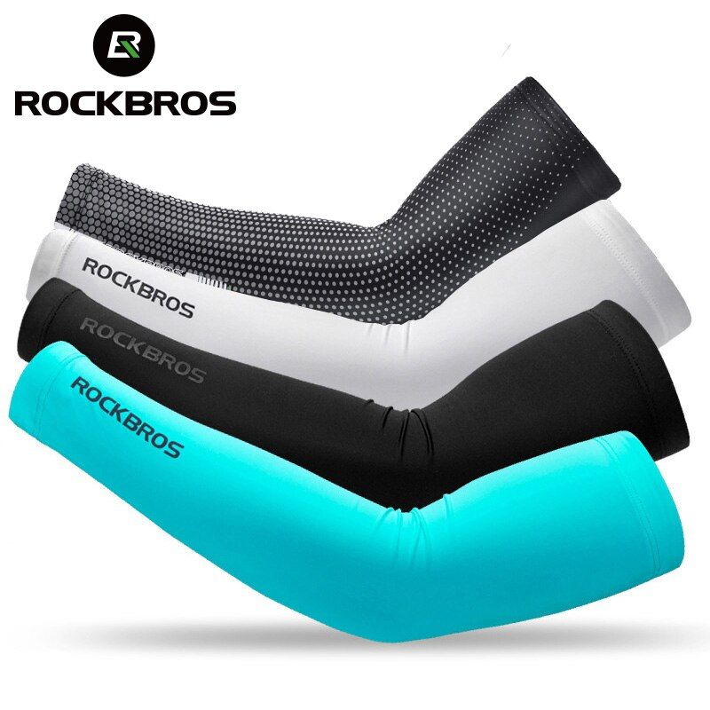 ROCKBROS Glace Tissu Respirant protection uv de Course manches bras de Remise En Forme de Basket-Ball Coude Pad Sport Randonnée à vélo manchettes