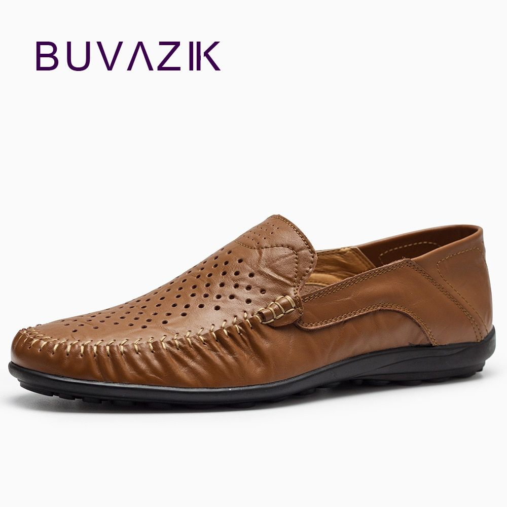 2018 summer casual shoes for man breathable and comfortable genuine leather slip-on fashion loafers handmade big size 39-46
