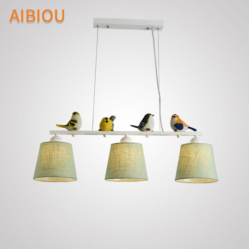 AIBIOU Vögel Pendelleuchten Mit Tuch Lampahde Für Esszimmer Stoff Pendelleuchte Hängeleuchte Küche Suspension