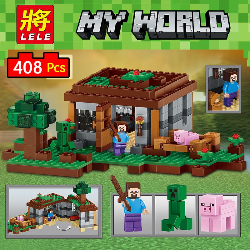 LELE My World Series Eductional Technic Model Building Blocks Kit Castle Children Toys Compatible LegoINGlys Minecrafter 408pcs