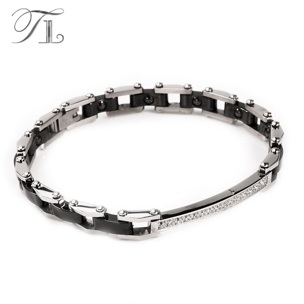 TL Edelstahl Silber Keramik Armreifen Armbänder Energie Armband Schwarz & Weiß Keramik Armband Intarsien Zirkon Hologramm Schmuck