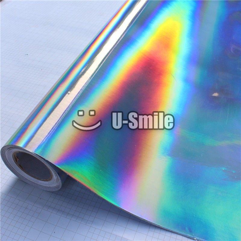 Premium Schillernden Laser Chrom Silber Vinyl Wrap Holographische Kaleidoskop Film Blase Freies Auto Aufkleber