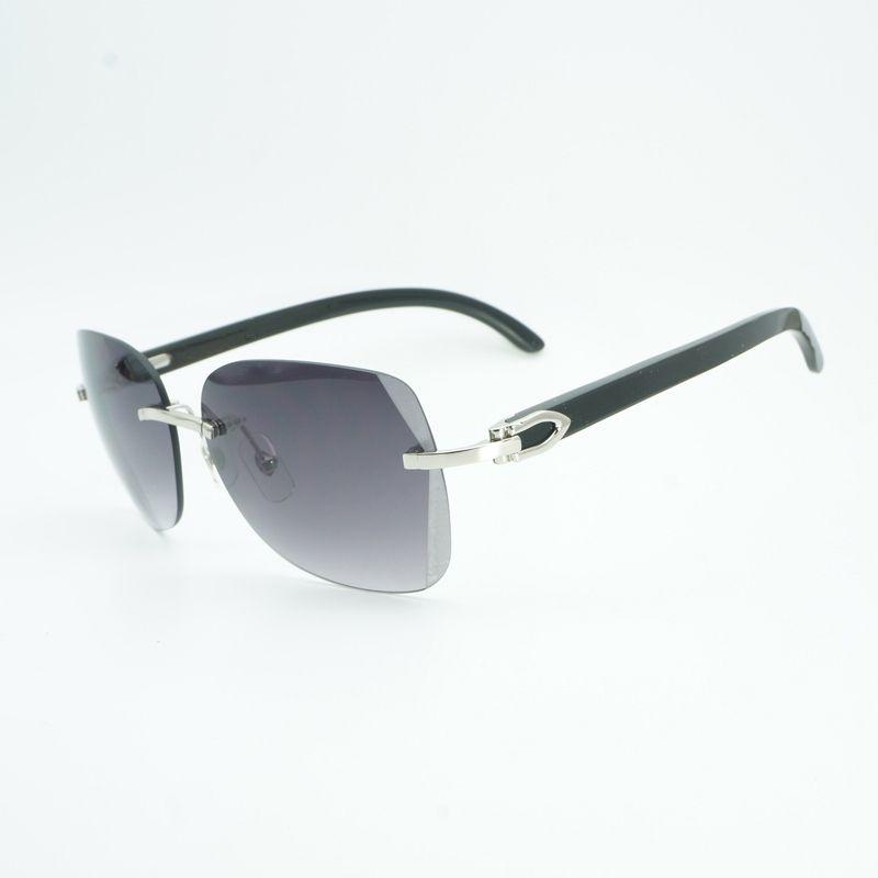 Vintage Schwarz Mix White Buffalo Horn Oversize Sonnenbrille Männer Diamant Schneiden Linse Holz Shades Randlose Glasse für Outdoor Gafas
