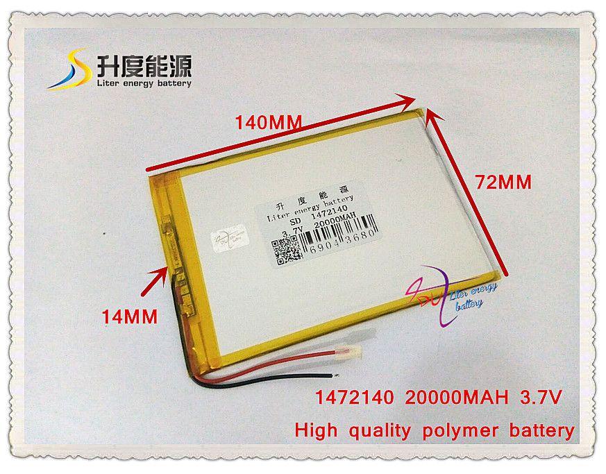 3,7 V 20000 mAH SD 1472140 polymer lithium-ionen akku/Li-Ion akku für energienbank, tablet pc, e-book, lautsprecher
