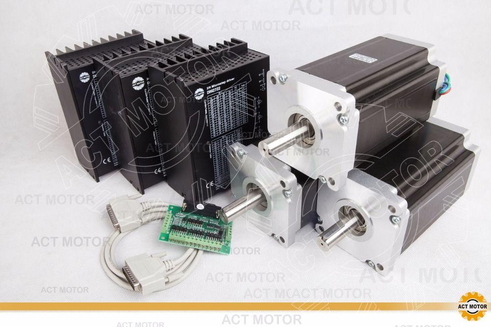 3AXIS Power CNC Kit! ACT Motor Nema42 Stepper Motor 42HS2480 201mm 8A 4200oz-in+3PC Driver DM2722 230V 9.8A