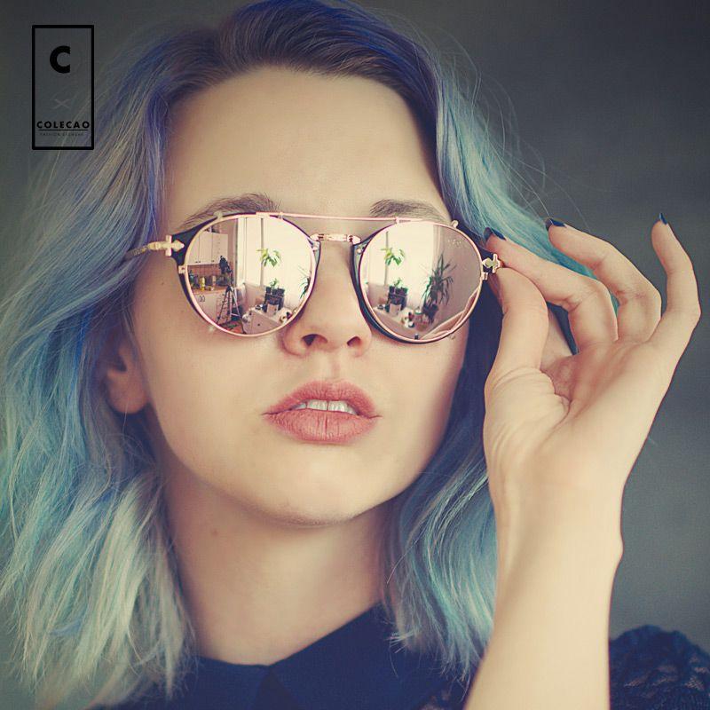 Colecao стимпанк Солнцезащитные очки для женщин Для женщин s круглый Солнцезащитные очки для женщин для Для женщин стимпанк Очки точки Круглый ...