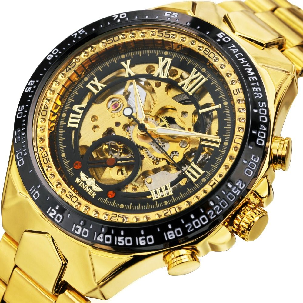 2019 WINNER Men Gold Watches Automatic Mechanical Watch Male Skeleton Wristwatch Stainless Steel Band Luxury Brand Sports Design