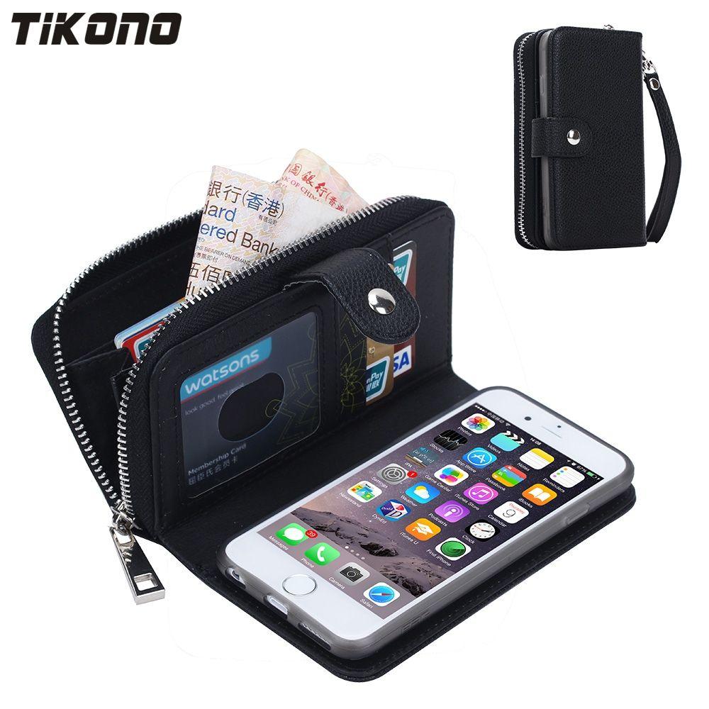 Portefeuille à fermeture à glissière multifonction pratique pour téléphone portable en cuir PU étui pour iphone 5 5 S 6 6 S Plus avec portefeuille de cartes