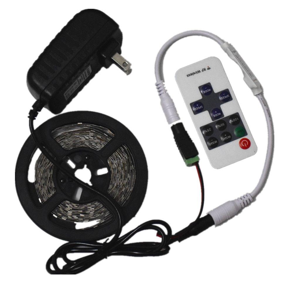 LED Bande Lumière 12 V 5 M 300 Non étanche SMD 5630 Diode Bande Flexible Lumières + 12 V/2A Adaptateur D'alimentation + RF À Distance contrôleur