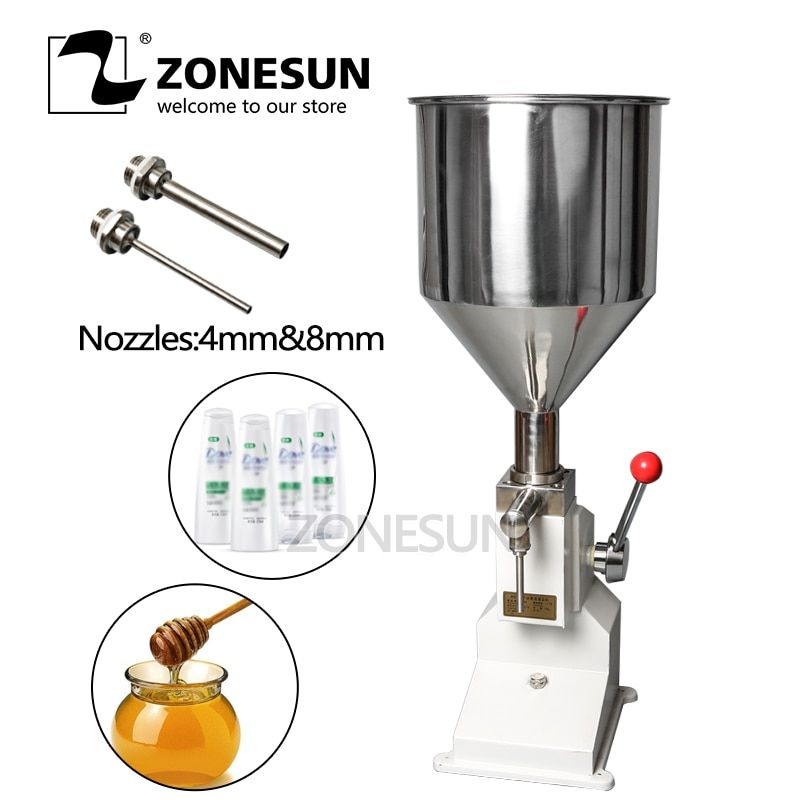 ZONESUN Manual Paste Filling Machine food Liquid Filling Machine Processor Cream Bottle Vial Filler Sauce Jam Nial Polish 0-50ml