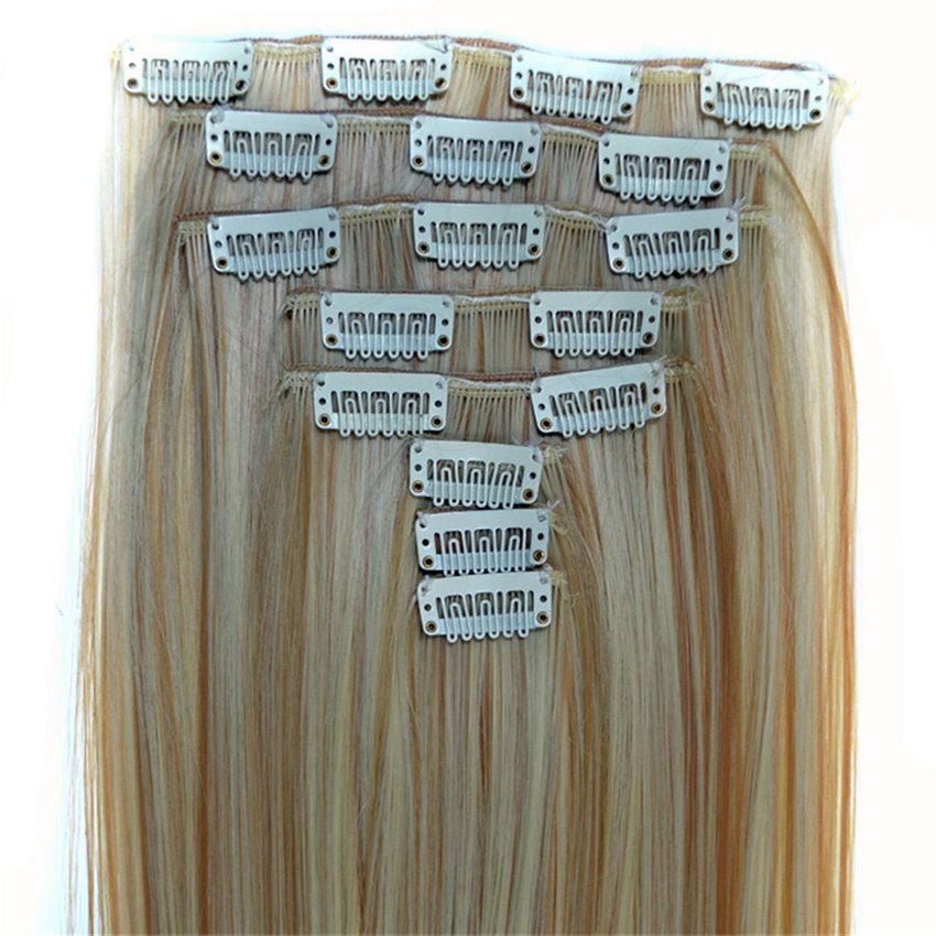 Feibin Clip Dans Les Extensions De Cheveux Cheveux Synthétiques 22 pouces 55 cm Longue Postiche Droite Résistant À La Chaleur c46