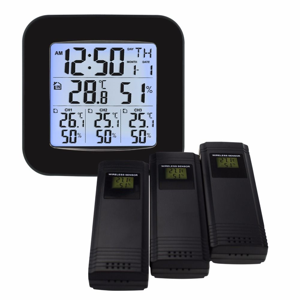 Weather Station w/ 3 Indoor/Outdoor Wireless Sensors Digital <font><b>Thermometer</b></font> Hygrometer Black LED LCD Display Temperature & Humidity