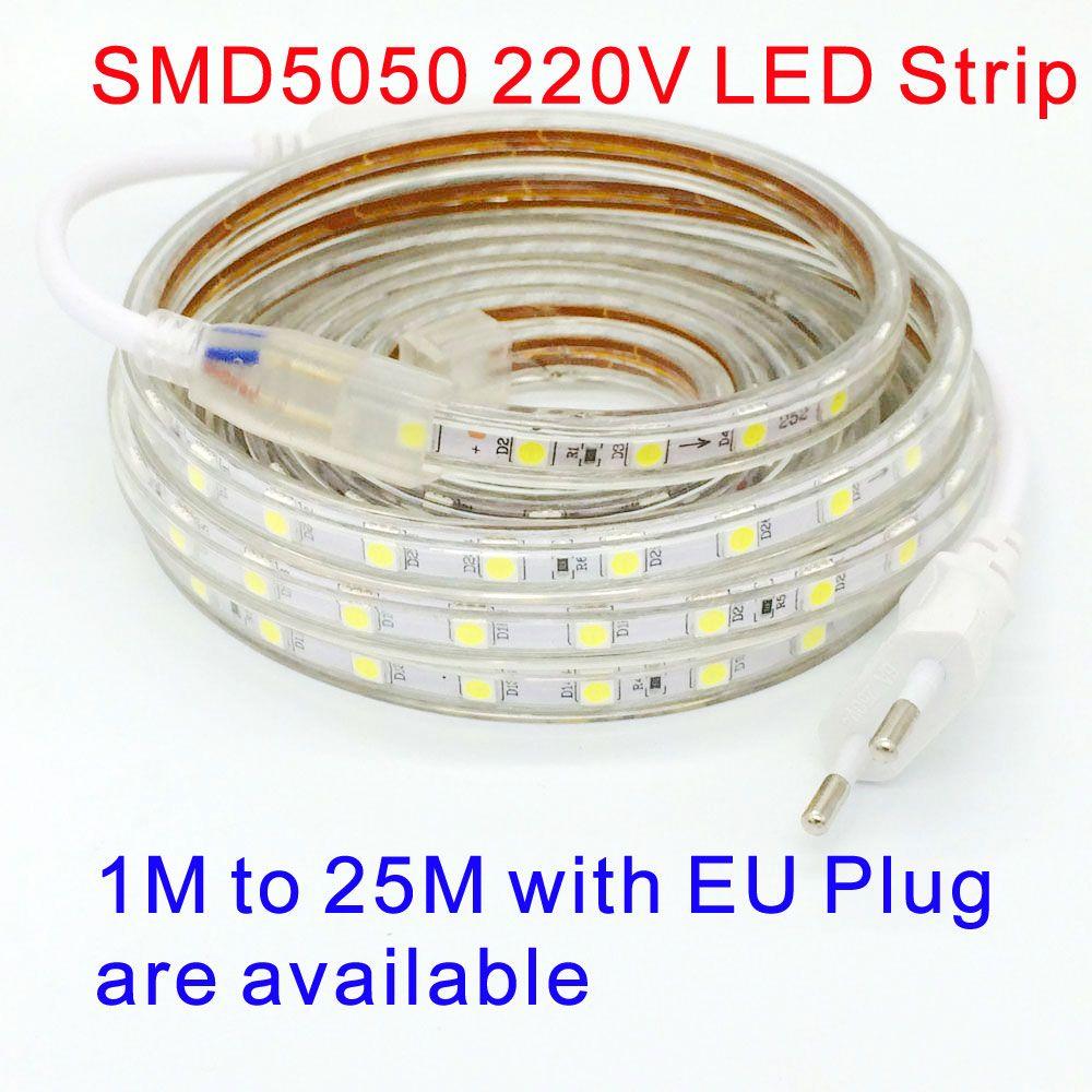 Étanche SMD 5050 ruban led AC 220 V flexible conduit la lumière de bande 60leds/Mètre éclairage de jardin en plein air avec prise UE 220 V