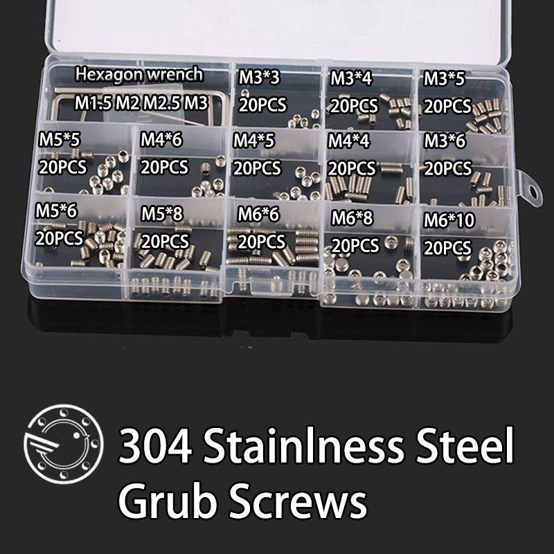 260Pcs M3 M4 M5 M6 304 Stainless Steel Metric Thread Grub Screws Flat Point Hexagon Socket Set Screws Headless Assortment Kit