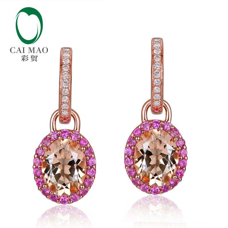14K Rose Gold 3.66CT Oval Cut Morganite Natural Diamond & pink Sapphires Engagement Drop Earrings
