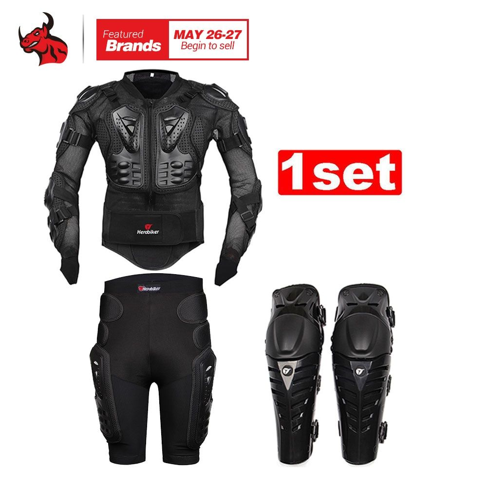 HEROBIKER Motorcycle Body Armor Protective Jacket+Gears Short Pants+protective Motorcycle Knee Pad Motorcycle Protection