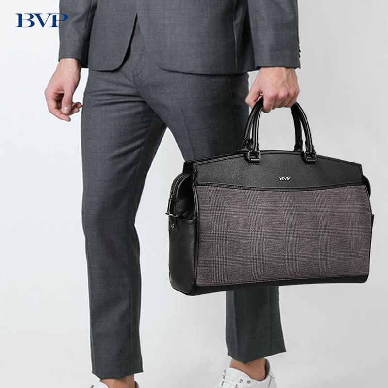 BVP Brand Men Crossbody Bags 14 inch Laptop Briefcase Lattices Leather Shoulder Bag Work Handbag Multi-function Travel Bag 50