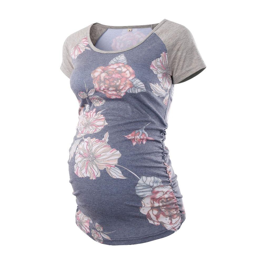 Maternity Baseball Crew Neck Tops Flattering Side Ruching Pregnancy T-Shirt Maternity Clothes Summer 2018 Tunic Tank Women Tees