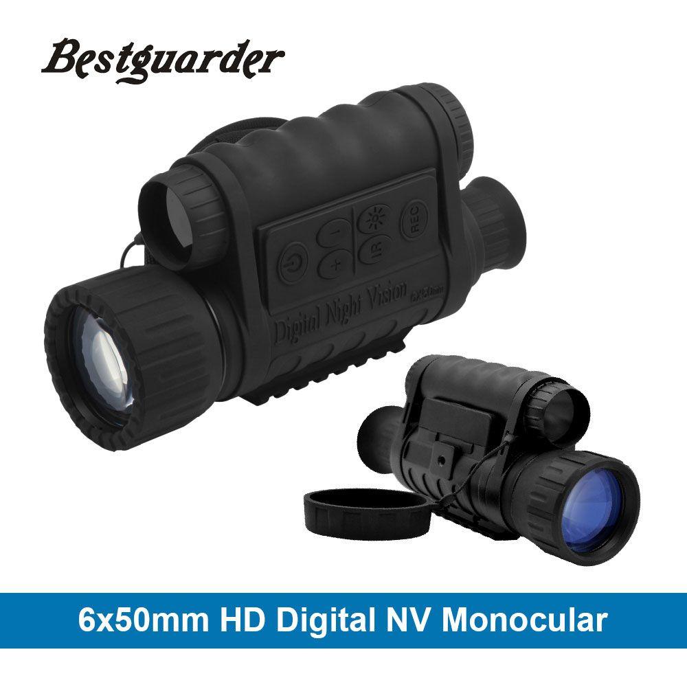 Bestguarder Numérique Nuit Vision Monoculaire IR Faune 6x50mm 5MP HD Caméra de Chasse Infrarouge 850NM Vision Nocturne Télescope