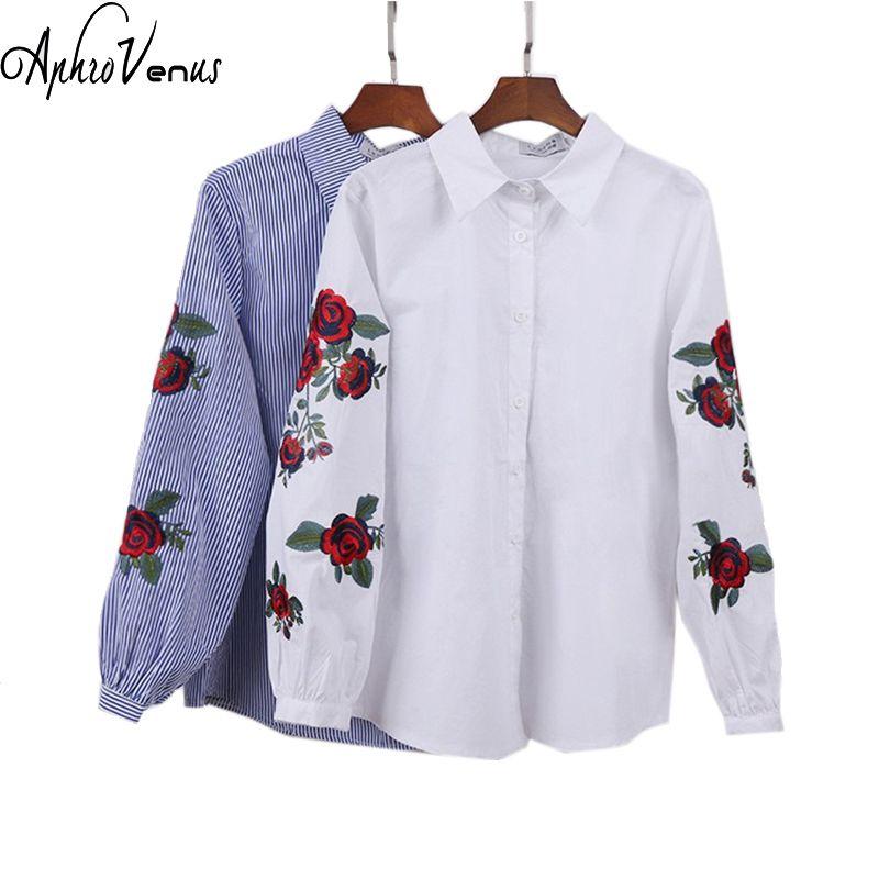 блузка блузки женские с вышивкой рубашка женская blusas feminina verão Розовая цветочная вышивка полосатая блузка рубашки женские Плюс размер