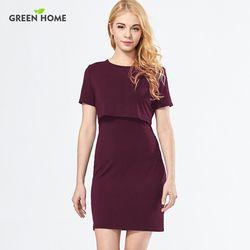 Casa verde Simple recta vestidos de enfermería para mujer embarazada ropa corta Modal maternidad vestido de lactancia embarazo