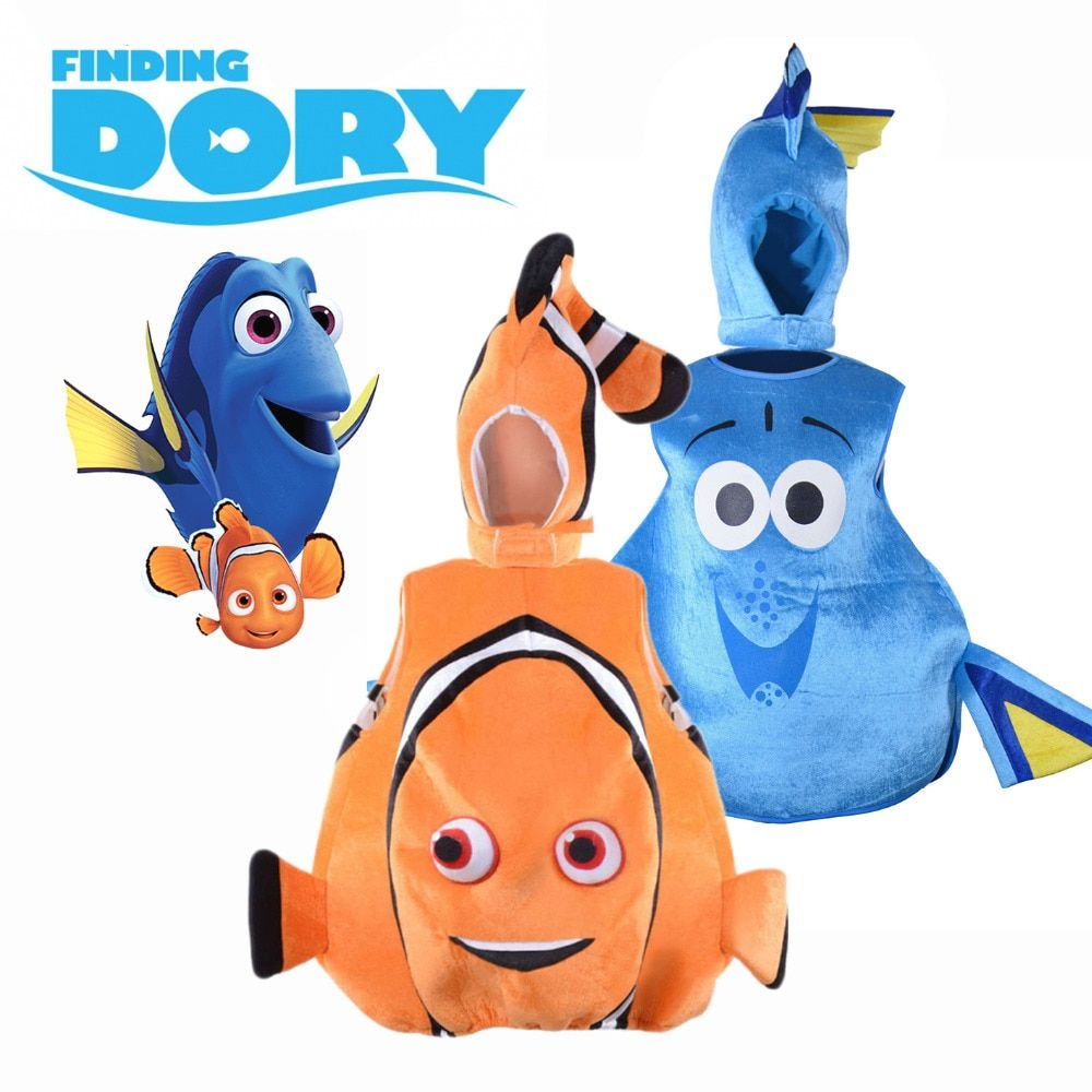 Finding Dory Costume Sea Friend Nemo and Dory Cosplay Suit Funny Clown Fish Fancy Dress Halloween for Children Adult Plus Size