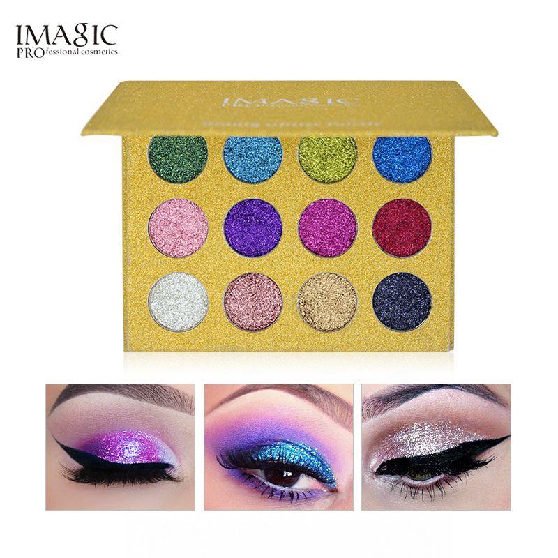 IMAGIC pressé paillettes fard à paupières Palette 12 couleurs lumineux arc-en-ciel paillettes ombre à paupières remplir maquillage magnétique cosmétique