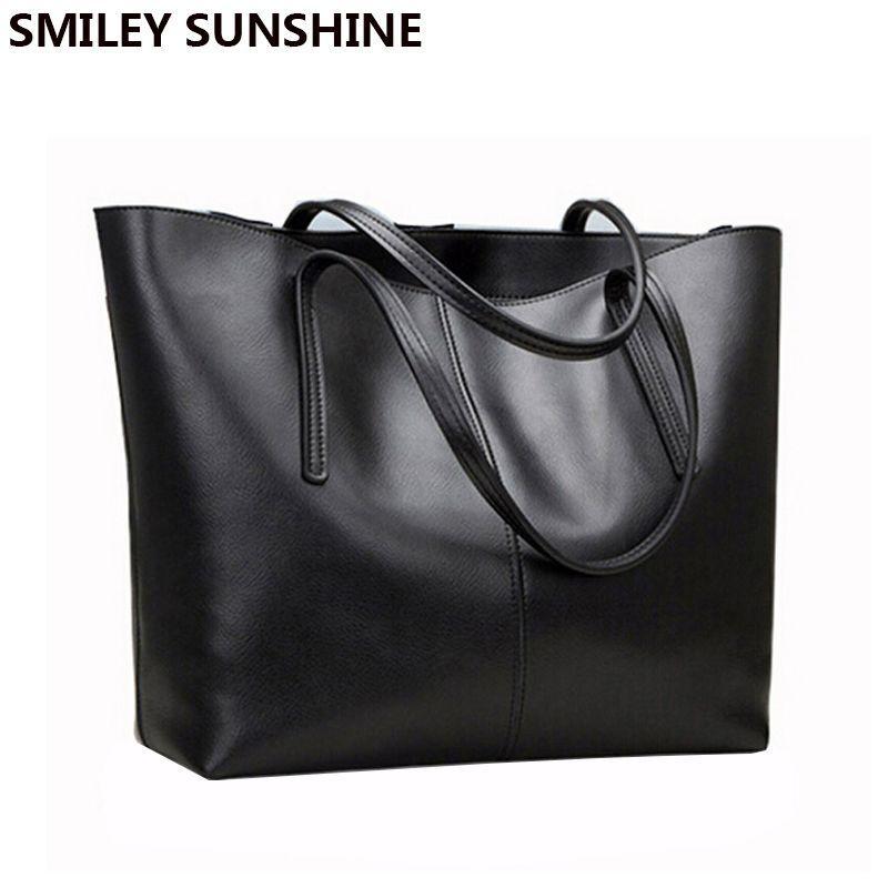 Ladies Genuine Leather Bag Female Large Shoulder Bag for Women Big Black Luxury Famous Brand Women Leather Handbag Hand Bag 2018