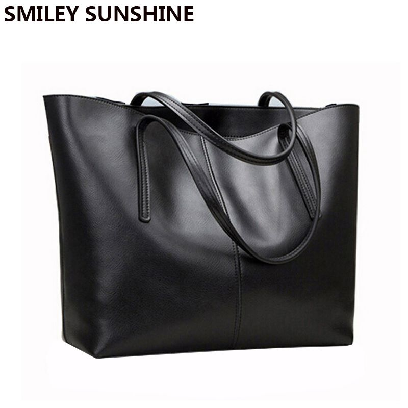 Ladies Genuine Leather Bag <font><b>Female</b></font> Large Shoulder Bag for Women Big Black Luxury Famous Brand Women Leather Handbag Hand Bag 2018